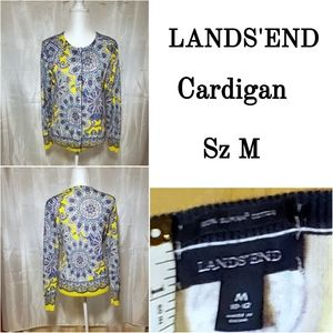 LANDS'END Cardigan M purple yellow white